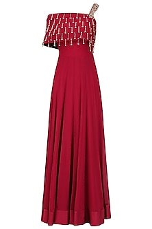 Red Embroidered Off Shoulder Gown by Seema Thukral