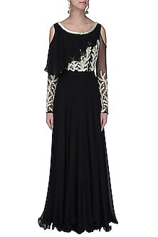 Black Embroidered Cold Shoulder Gown with Attached Ruffle by Seema Thukral