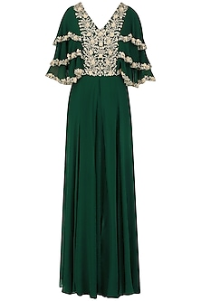 Bottle Green Embroidered Layered Sleeves Pleated Gown by Seema Thukral