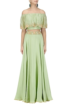 Mint Embroidered Off Shoulder Croptop with Circular Skirt by Seema Thukral