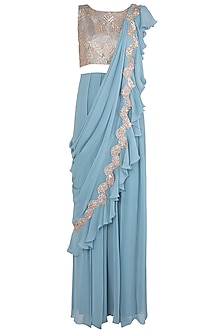 Stone Blue Embellished Jumpsuit Saree by Shruti Ranka