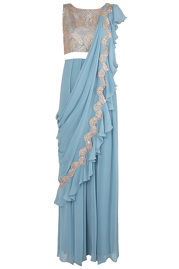 Stone Blue Embellished Jumpsuit Saree by Shruti Ranka