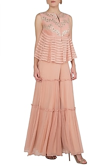Peach Embellished Peplum Top With Palazzo Pants by Shruti Ranka