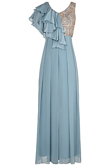 Stone Blue Embellished Jumpsuit by Shruti Ranka