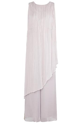 Light Grey Tunic With Embellished Palazzo Pants by Shruti Ranka