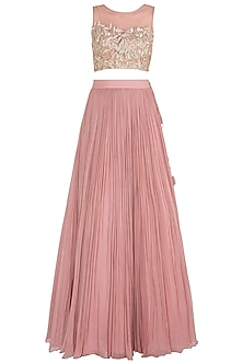 Dusty Pink Embellished Lehenga Set by Shruti Ranka