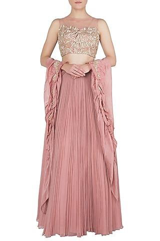 Dusty Pink Embellished Lehenga Set by Shruti Ranka