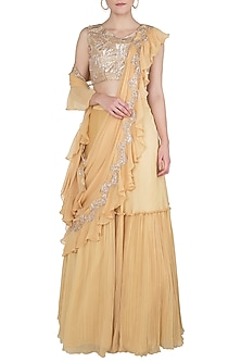 Yellow Embellished Lehenga Set by Shruti Ranka