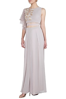 Light Grey Embellished Crop Top With Palazzo Pants by Shruti Ranka