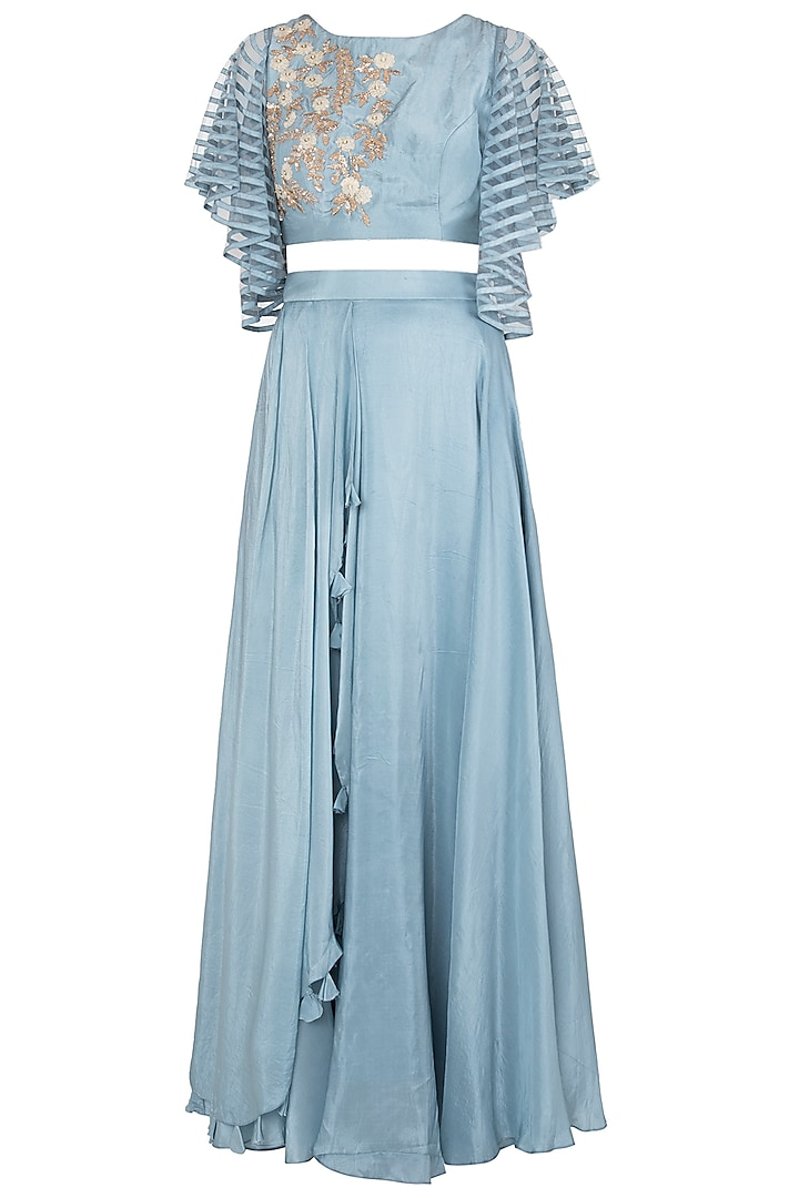 Stone Blue Embellished Crop Top With Skirt by Shruti Ranka