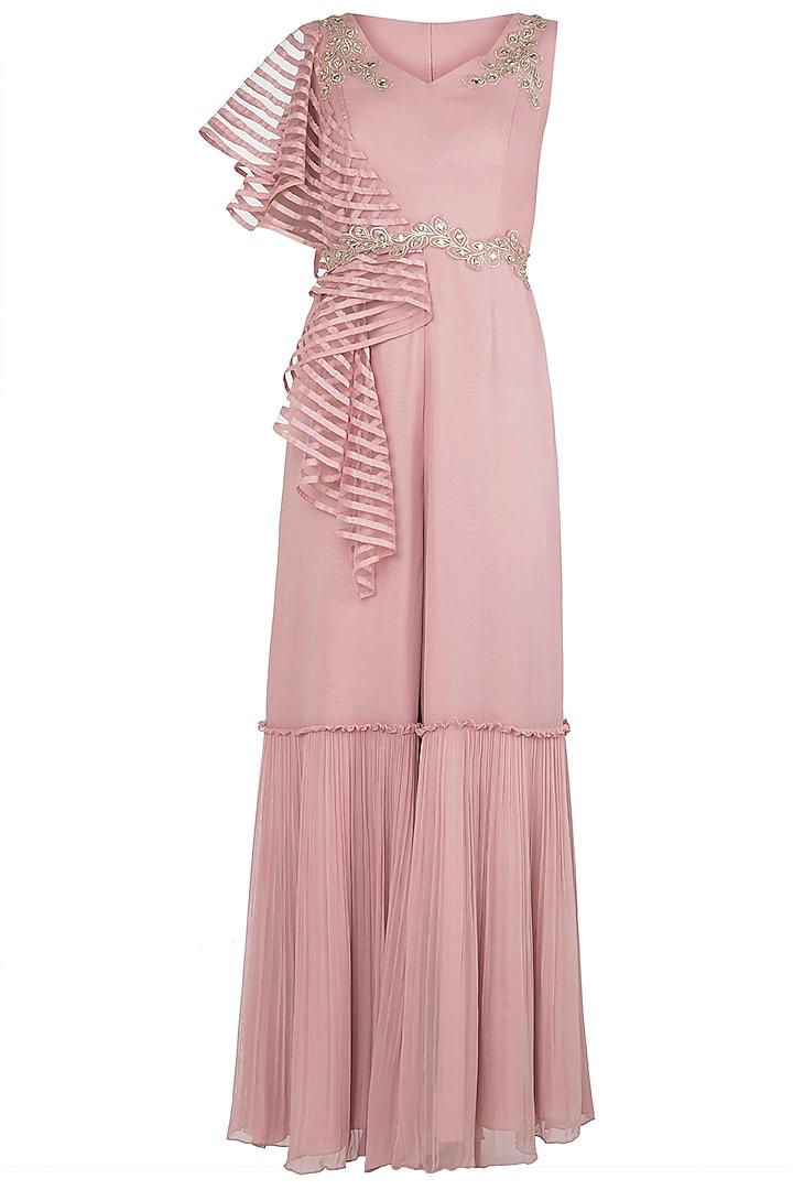 Dusty Pink Embellished One Tier Jumpsuit by Shruti Ranka