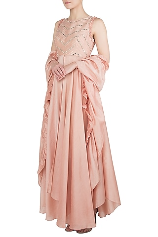 Peach Embroidered Anarkali With Ivory Cigarette Pants and Dupatta by Shruti Ranka