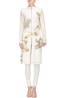 Ivory Floral Beads Embroidered Straight Kurta by Siddartha Tytler