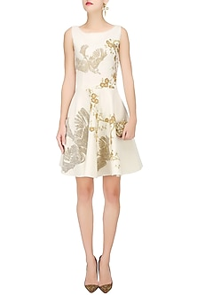 Ivory and Gold Floral Embroidered Fit and Flared Dress by Siddartha Tytler