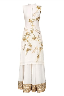 Ivory and Gold Cherry Blossoms and Dragon Flies Kurta and Sharara Set by Siddartha Tytler