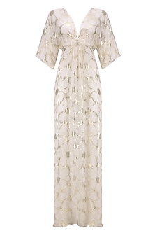 Ivory and Gold Kaftan Gown by Siddartha Tytler