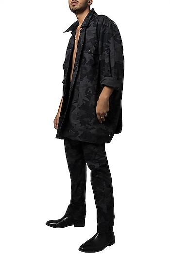Black & Grey Camo Printed & Crystal Owl Oversized Jacket by Siddartha Tytler Men