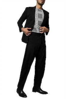 Black Double Knitted Blazer by Siddartha Tytler Men