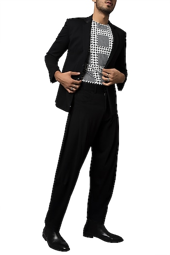 Black Double Knitted Blazer by Siddartha Tytler Men