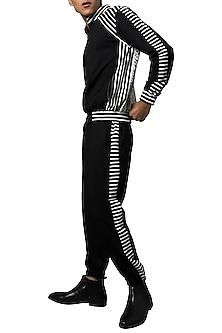 Black Striped Jogger Pants by Siddartha Tytler Men