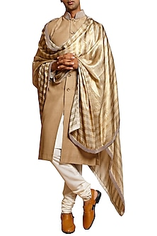Beige Printed Pearl Sherwani Set by Siddartha Tytler Men