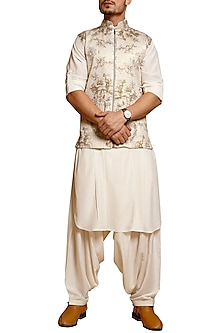Ivory Pintuck Pathani Suit by Siddartha Tytler Men