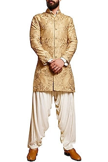 Beige Embroidered Sherwani Set by Siddartha Tytler Men