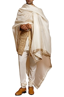Beige Embroidered Silk Sherwani Set by Siddartha Tytler Men
