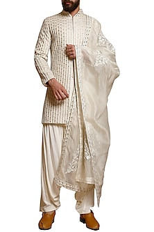 Ivory Silk Sherwani Set by Siddartha Tytler Men