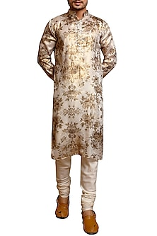 Ivory & Gold Digital Printed Floral Kurta by Siddartha Tytler Men