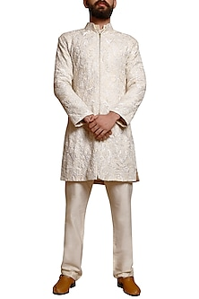 Ivory Embellished Sherwani Set by Siddartha Tytler Men