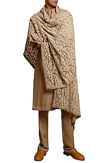 Beige French Knotted Sherwani Set by Siddartha Tytler Men