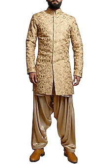 Beige Silk Embroidered Sherwani Set by Siddartha Tytler Men