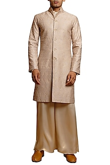 Beige Crystal Embroidered Sherwani Set by Siddartha Tytler Men