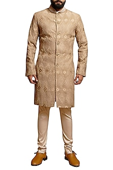 Beige Embroidered Khadi Sherwani Set by Siddartha Tytler Men