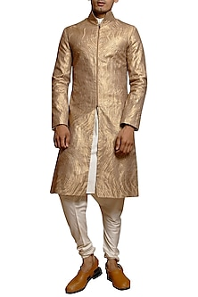 Copper Laser Strip Worked Sherwani Set by Siddartha Tytler Men