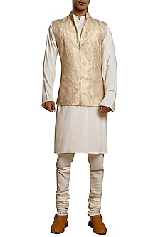 Light Gold Laser Strip Worked Waistcoat by Siddartha Tytler Men