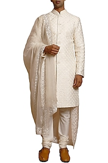 Ivory Embroidered Matka Silk Sherwani Set by Siddartha Tytler Men