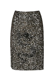 Black sequined skirt by Siddartha Tytler