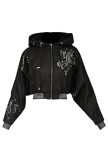 Black sequined crop jacket by Siddartha Tytler