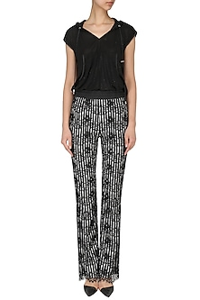 Black and white lace pants by Siddartha Tytler