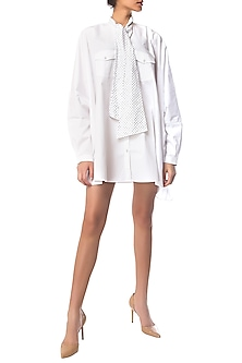 White Oversized Shirt Dress with Polka Dotted Crystal Bow by Siddartha Tytler