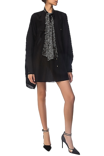 Black Oversized Shirt Dress with Polka Dotted Crystal Bow by Siddartha Tytler