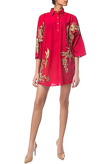 Fuchsia Pink Oversized Embroidered Shirt Dress by Siddartha Tytler