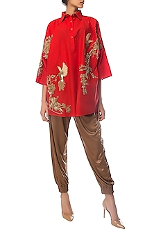 Red Oversized Embroidered Shirt Dress by Siddartha Tytler