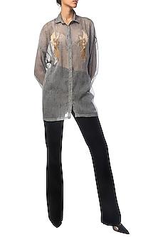 Grey Textured Oversized Shirt with Bird Motifs by Siddartha Tytler