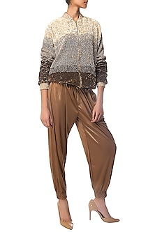 Beige Ombre Sequins Bomber Jacket by Siddartha Tytler