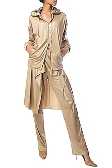 Champagne Gold Hoodie Jacket with Animal Print by Siddartha Tytler