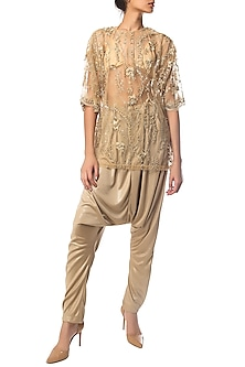 Golden Sheer Embroidered Top by Siddartha Tytler