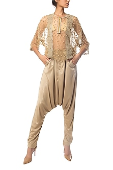 Golden Embroidered and Striped Jumpsuit by Siddartha Tytler